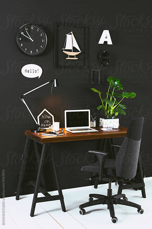 Black workspace.  by BONNINSTUDIO for Stocksy United