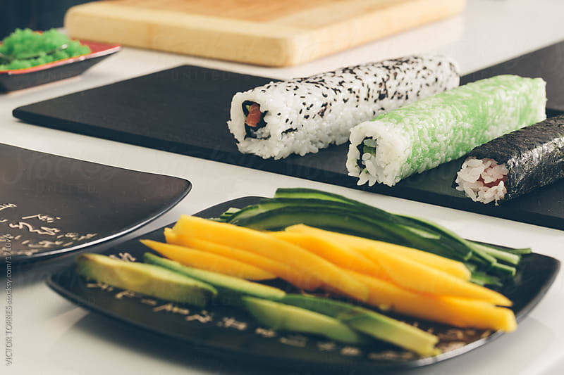 Maki and Uramaki Rolls by VICTOR TORRES for Stocksy United