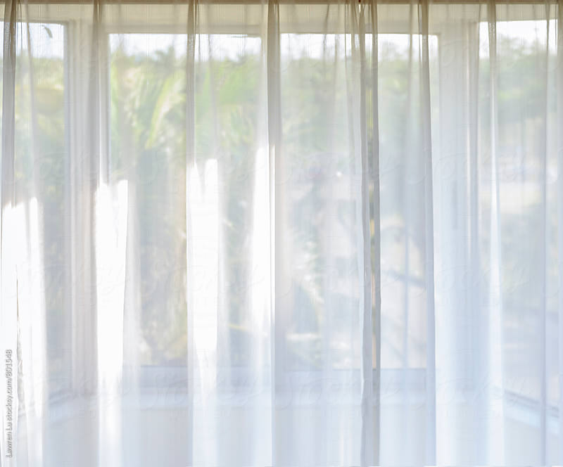 Background of filmy drapes on a window by Lawren Lu for Stocksy United