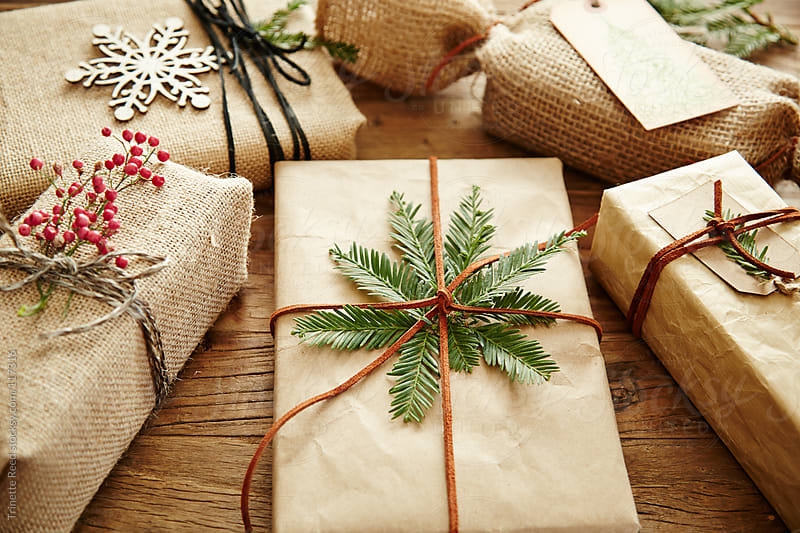 Group of gifts with handmade wrapping paper by Trinette Reed for Stocksy United