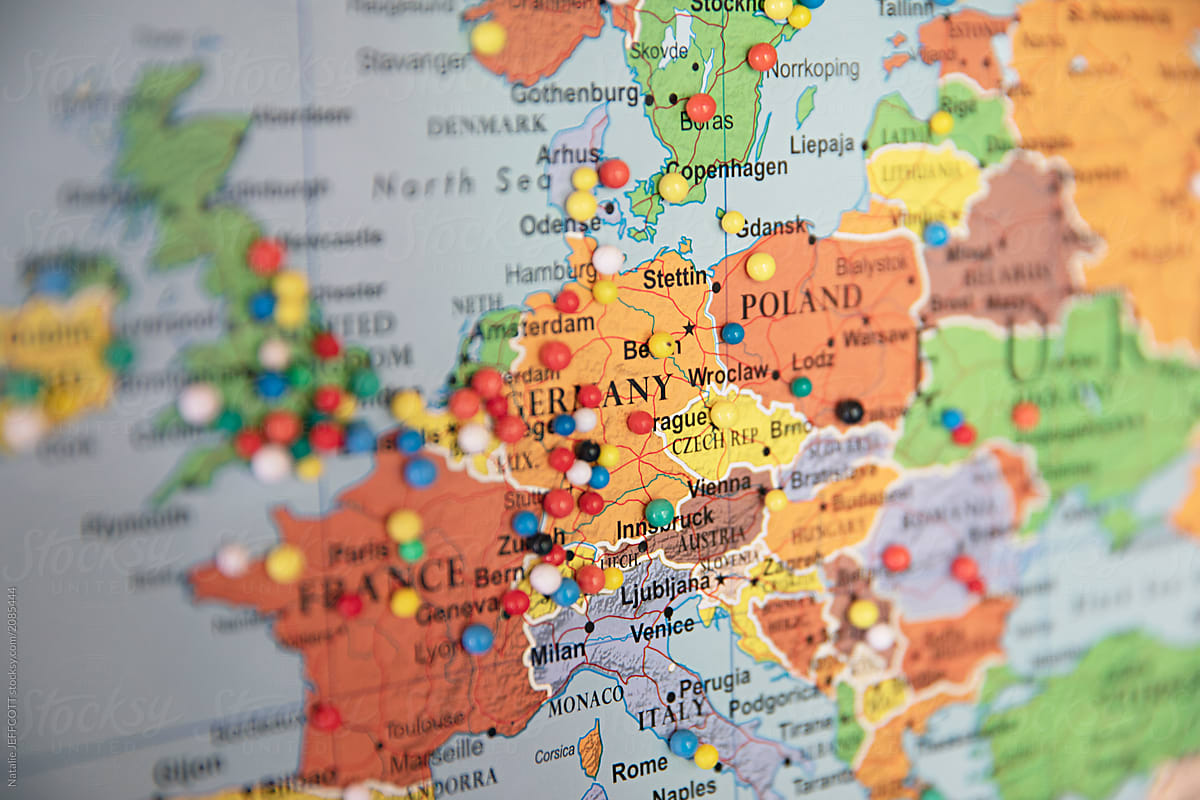 map of europe up close Close up of map of Europe with pins showing visitor locations by