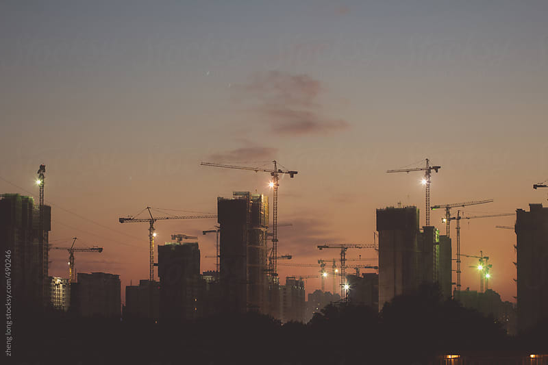 construction of Beijing after sunset by zheng long for Stocksy United