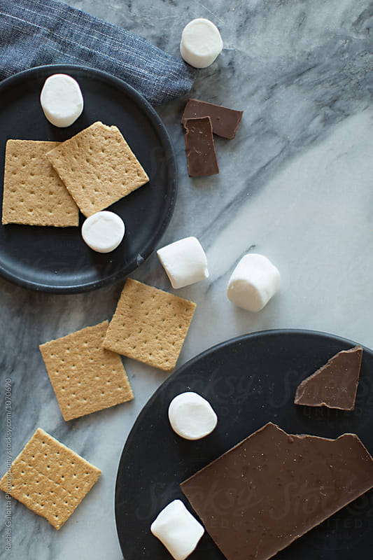 Deconstructed S'mores on a Marble Countertop by Rachel Gulotta Photography for Stocksy United