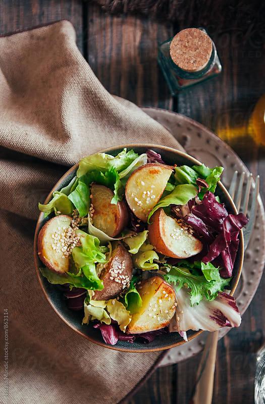 Potato salad with sesame dressing by Nataša Mandić for Stocksy United