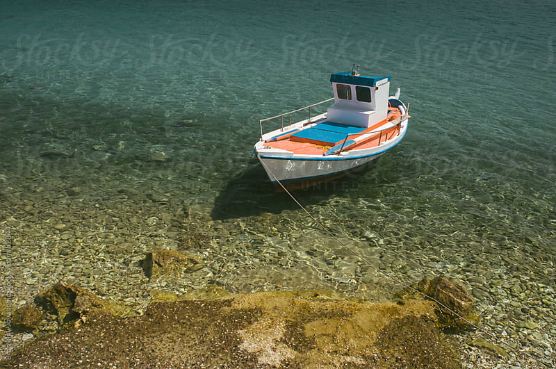 Small White Fishing Boat by Brkati Krokodil for Stocksy United