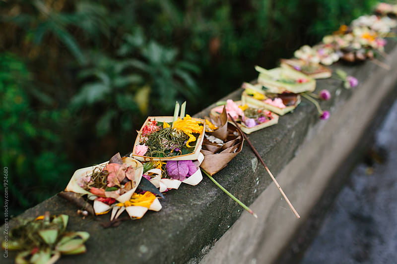 offerings to the gods in Bali by Cameron Zegers for Stocksy United