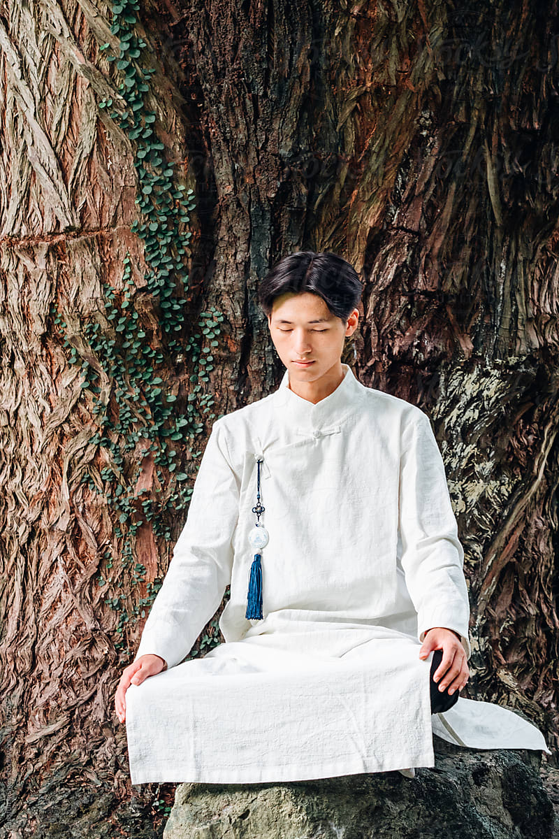 Asian Man In Zen Style Traditional Chinese Clothing By Pansfun Images