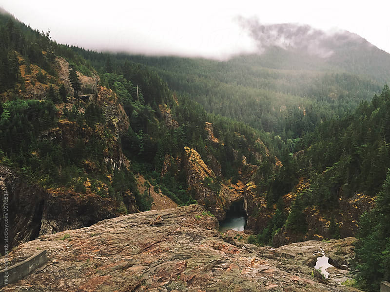 Foggy Mountain Landscape Overlooking a River in Washington by michelle edmonds for Stocksy United