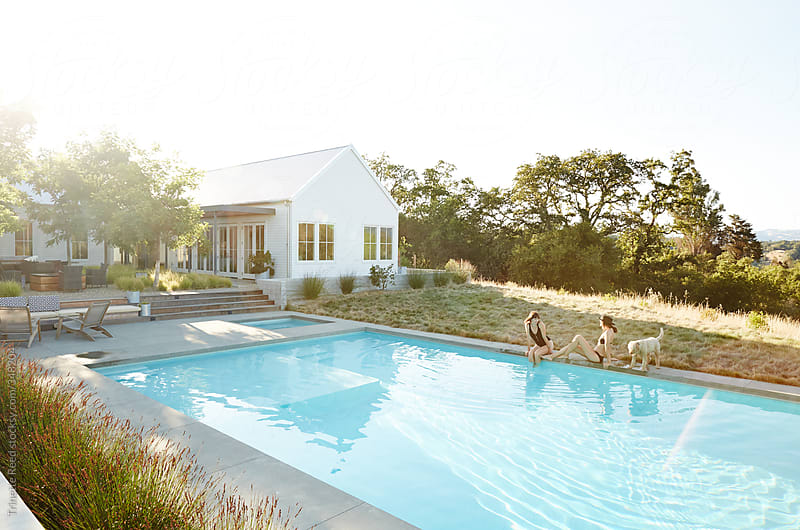 girlfriends lounging by pool in summer by trinette reed. Black Bedroom Furniture Sets. Home Design Ideas