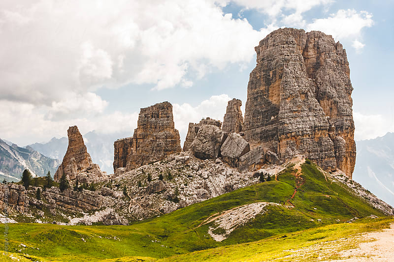 Cinque Torri Italian Dolomites, Rocky Mountains during Summer by Giorgio Magini for Stocksy United