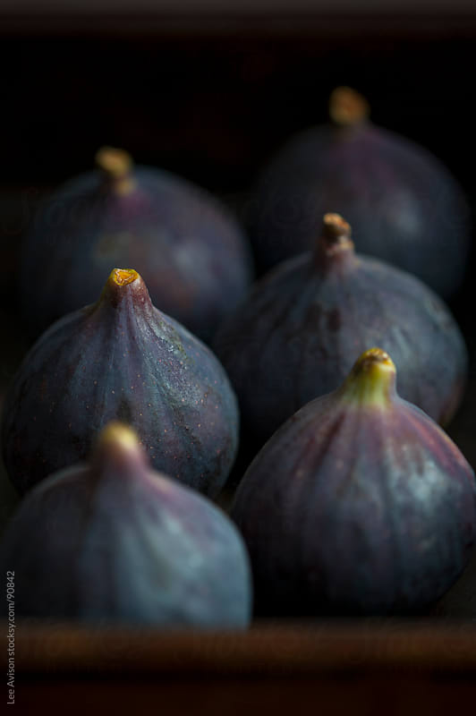 fresh ripe purple figs arranged for baking by Lee Avison for Stocksy United