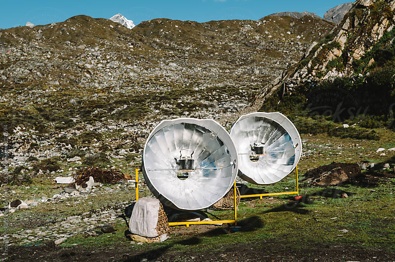 Solar units warming kettles of water, Everest Region, Sagarmatha National Park, Nepal. by Thomas Pickard for Stocksy United