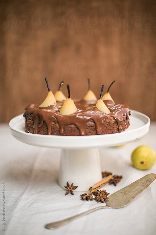 Poached Pear & Chocolate Cake by Hung Quach for Stocksy United