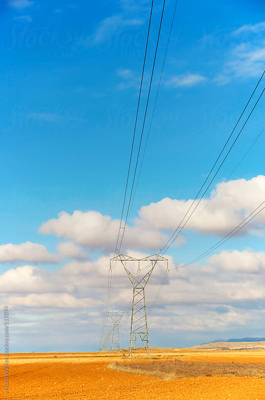Power lines crossing by Harald Walker for Stocksy United