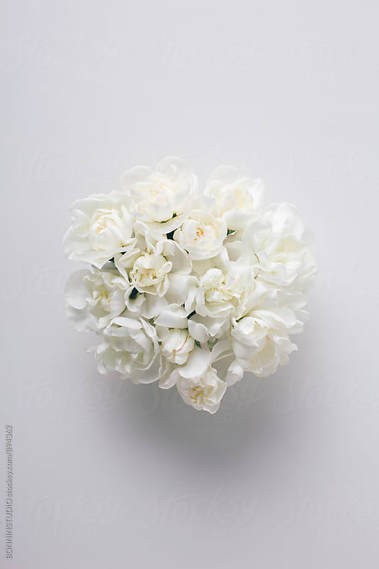 Bouquet of white flowers from above. by BONNINSTUDIO for Stocksy United