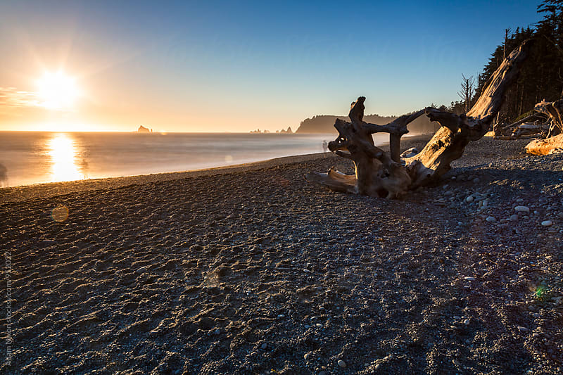 Sunset over the Pacific Ocean from Rialto Beach, Washington by Adam Nixon for Stocksy United