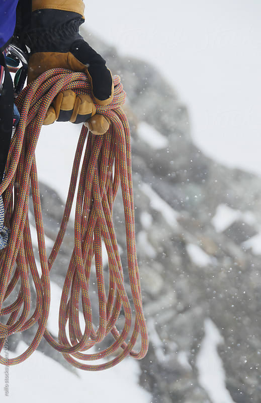 Close-up of alpinist holding ropes by rolfo for Stocksy United