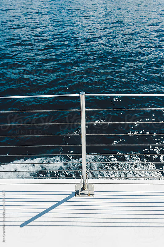 Close up of a catamaran railing. by Jen Grantham for Stocksy United