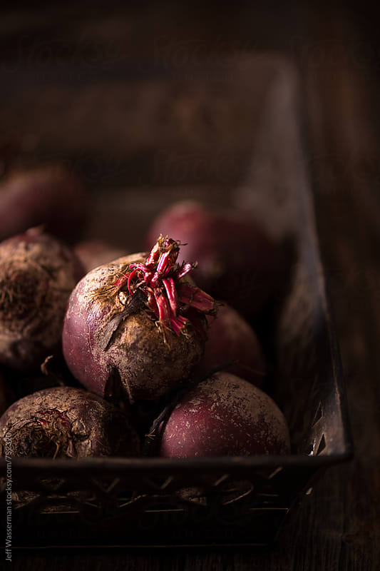 Purple Heirloom Beetroot in Rustic Setting  by Jeff Wasserman for Stocksy United