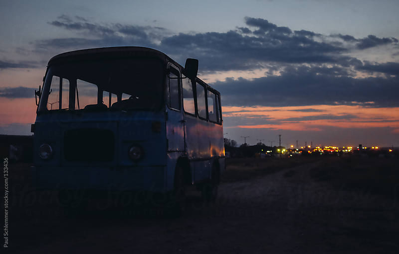 Vintage blue bus by Paul Schlemmer for Stocksy United