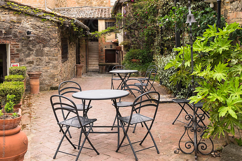 Empty terrace in a tuscan village by Marilar Irastorza for Stocksy United