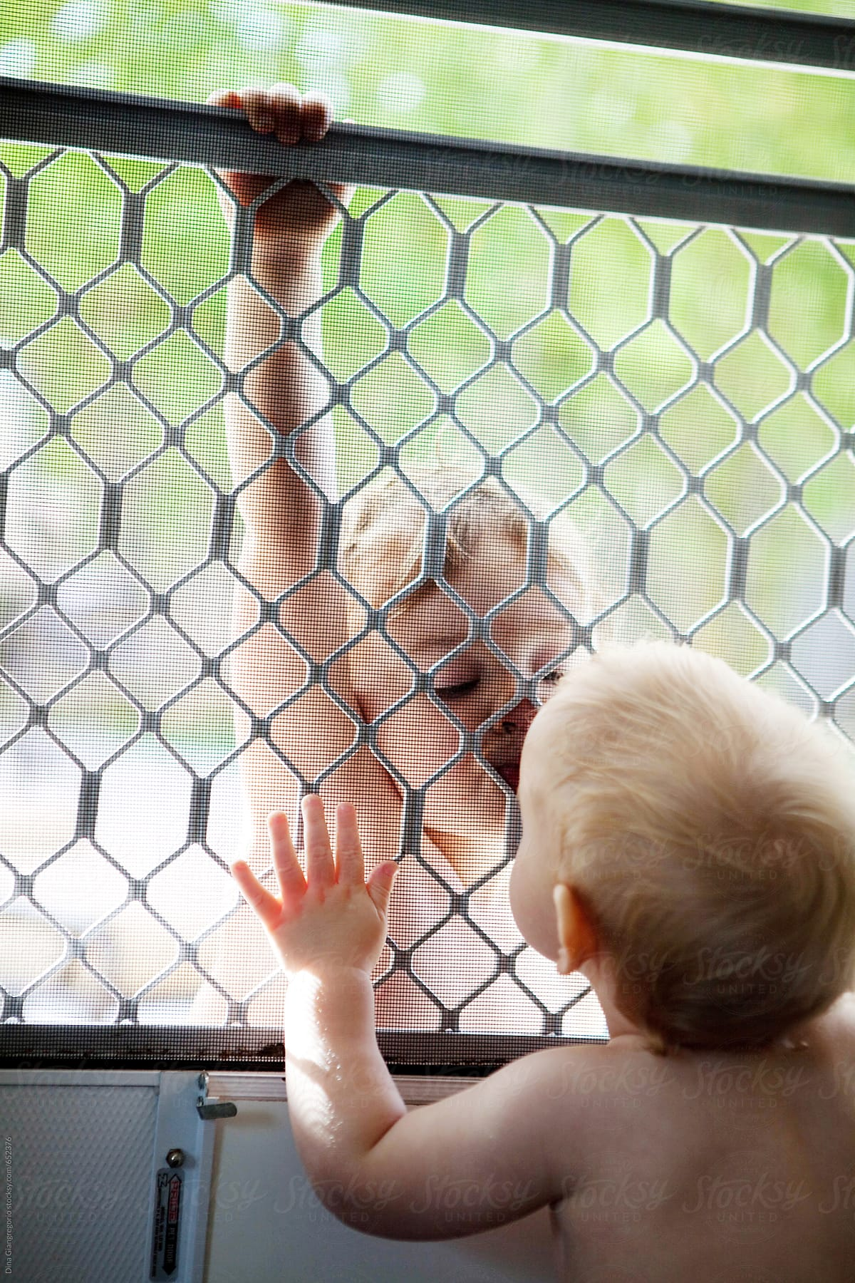 Two Toddler Boys Kissing Through A Screen Door Stocksy United