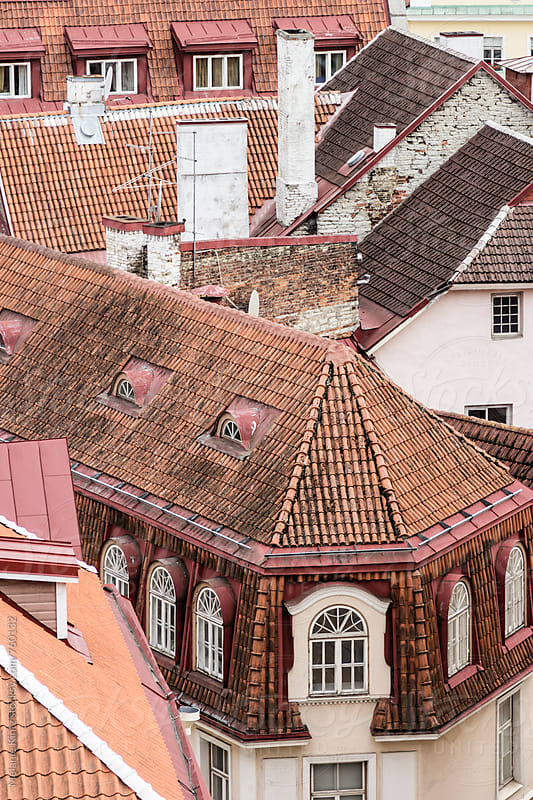 Rooftops of houses in the old town of Tallinn by Melanie Kintz for Stocksy United