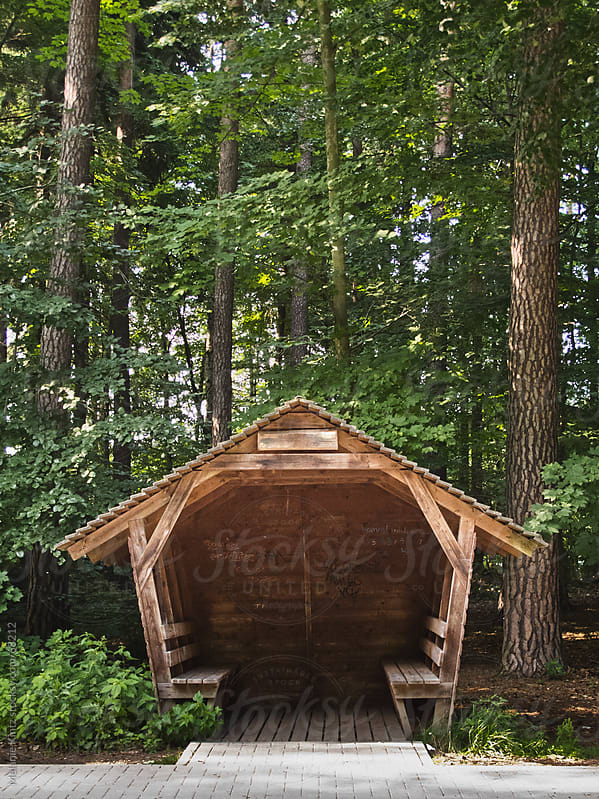 Wooden hut near a road in a forest area by Melanie Kintz for Stocksy United