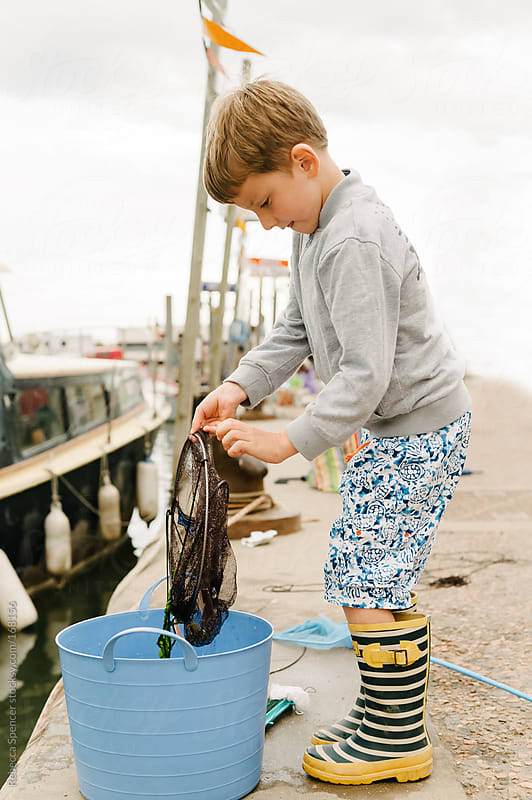 Young boy checking his net for crabs by Rebecca Spencer for Stocksy United