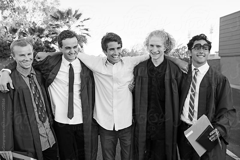 Handsome Group Of Highschool Grads by Dina Giangregorio for Stocksy United