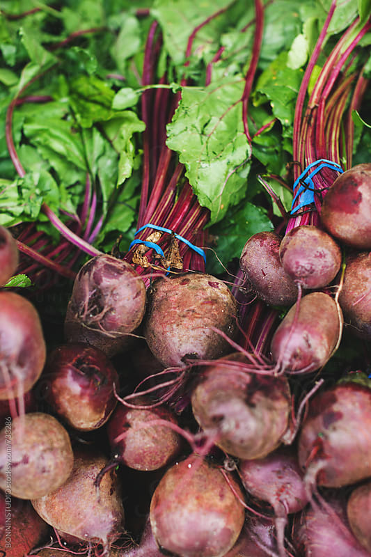 Beetroot on an organic market. by BONNINSTUDIO for Stocksy United