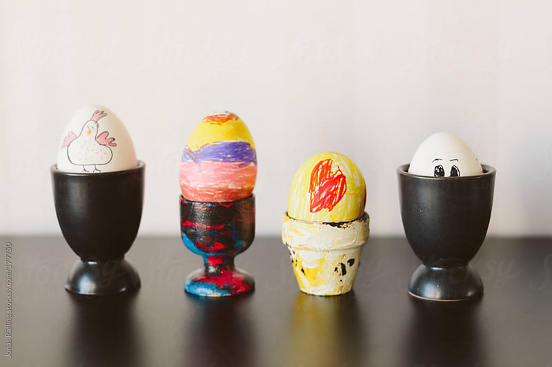 Four hand painted easter eggs by Jonas Räfling for Stocksy United