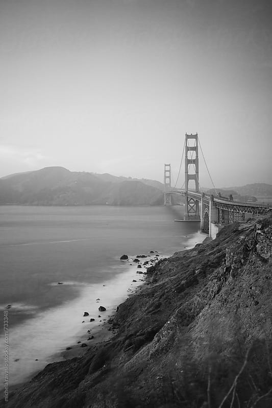 Cliff on San Francisco Bay in black and white by michela ravasio for Stocksy United