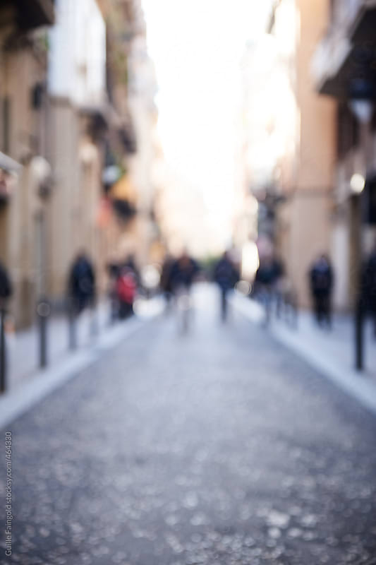Unfocused view of barcelona streets by Guille Faingold for Stocksy United