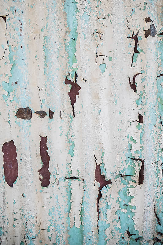 Rustic peeling paint on corrugated iron shed by Rowena Naylor for Stocksy United