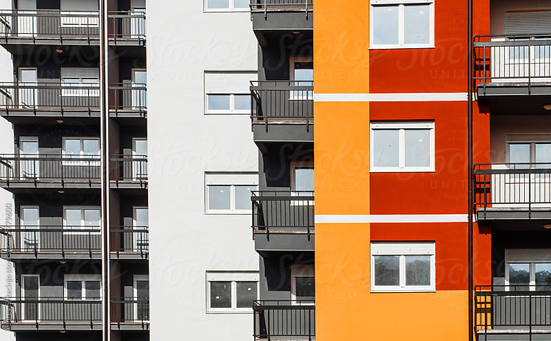 Buildings Facade in housing blocks in perspective. by Marko Milanovic for Stocksy United