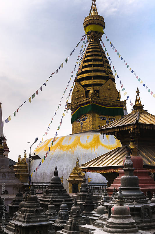 Buddhist stupa Swayambhunath temple complex in Kathmandu. Nepal by Gabriel Diaz for Stocksy United