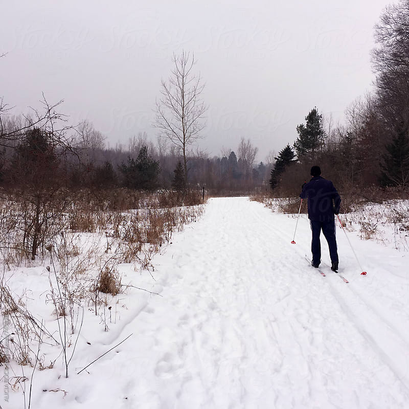 A Man Cross Country Skiing On A Cold, Gray Winter Evening by ALICIA BOCK for Stocksy United