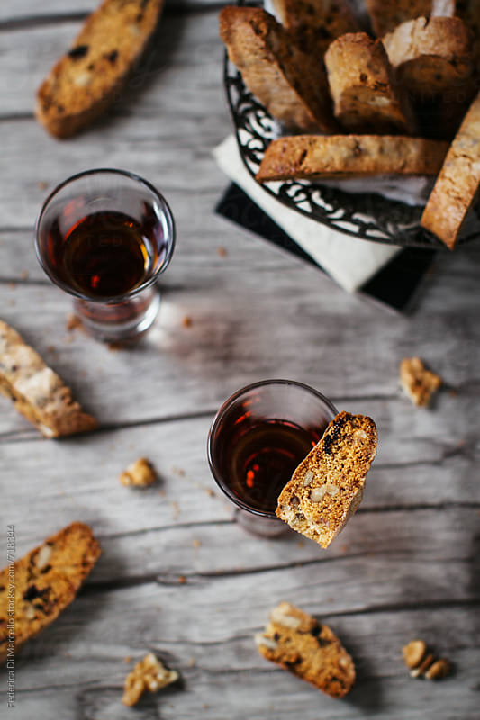 Cornmeal and olive oil biscotti with walnuts and plums  by Federica Di Marcello for Stocksy United
