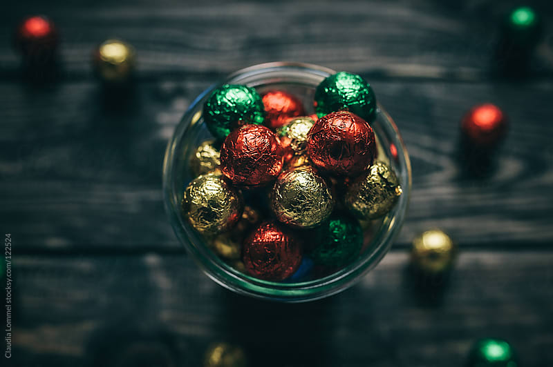Colorful Foil Chocolate Balls for Christmas by Claudia Lommel for Stocksy United