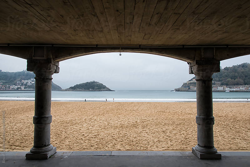 Arcade with views to the beach, San Sebastian by Bisual Studio for Stocksy United