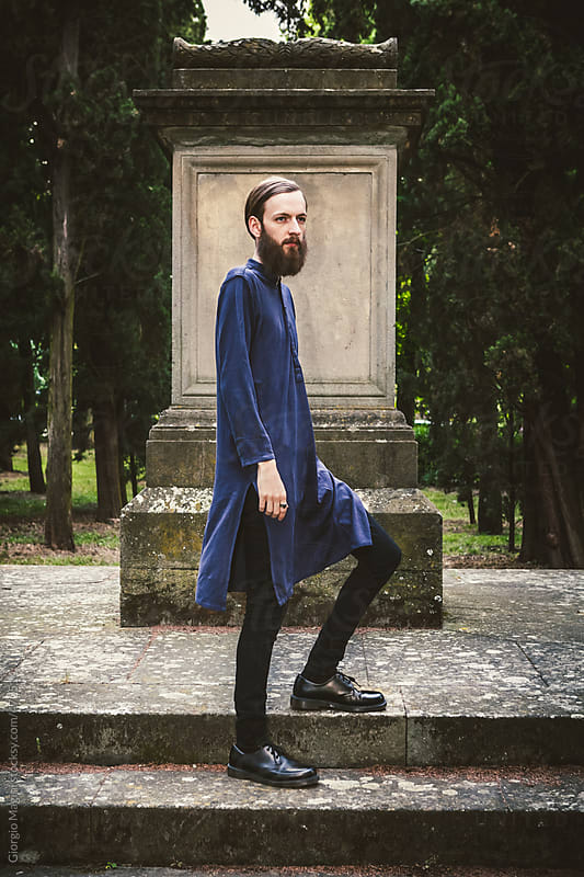Bearded Male Model Loves Dark Fashion by Giorgio Magini for Stocksy United