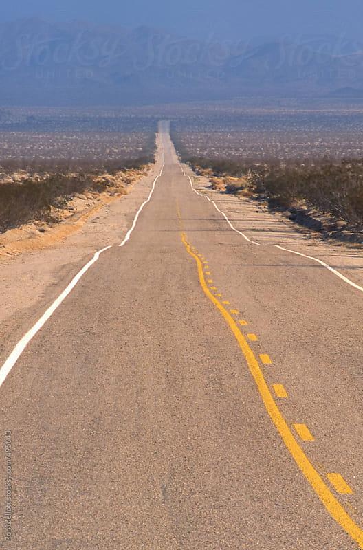 paved asphalt road Mojave desert California two-lane straight shrubs  by Ron Mellott for Stocksy United
