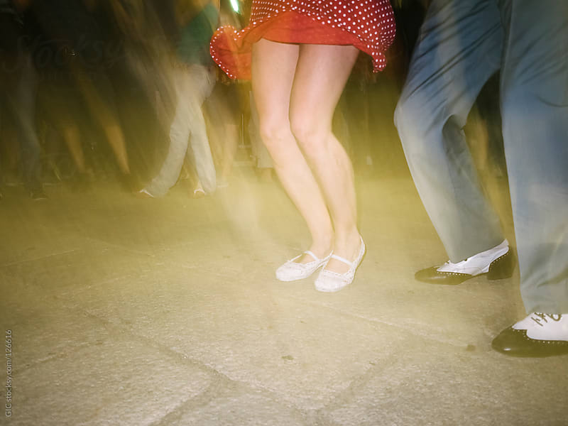 Rockabilly couple dancing swing jazz by GIC for Stocksy United