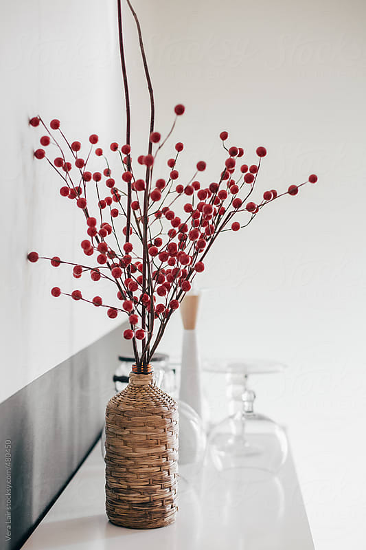 Bouquet branch with small red balls by Vera Lair for Stocksy United