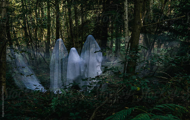 Family of Halloween ghosts in the woods by kkgas for Stocksy United