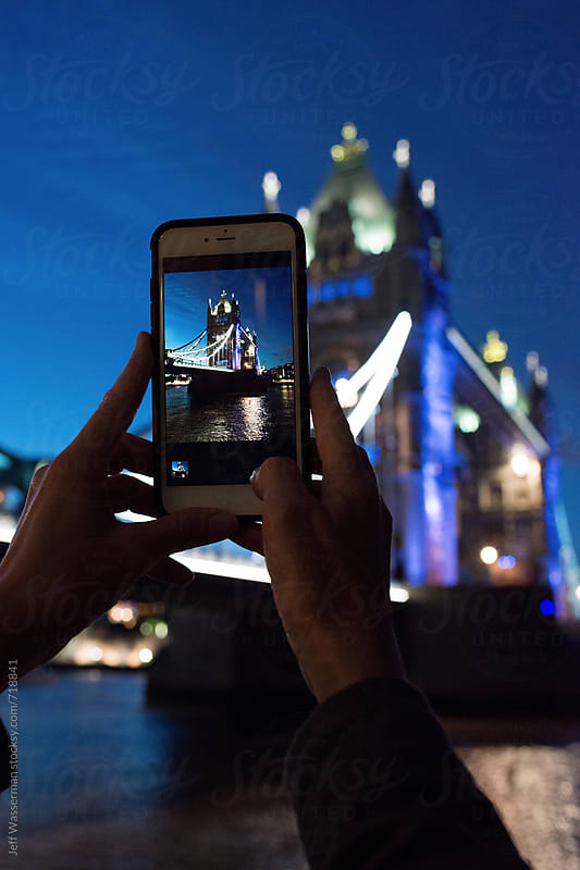 Tourist Taking Photo of Tower of London with Cellphone by Studio Six for Stocksy United