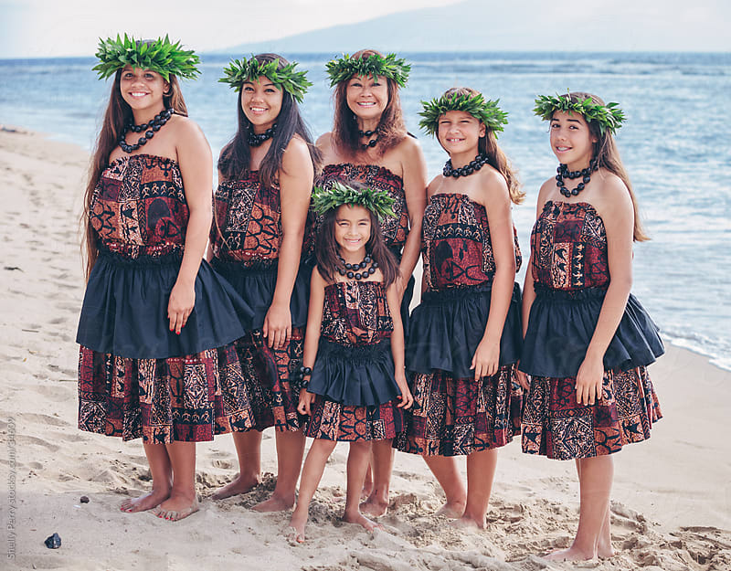Group Portrait of Traditional Hawaiian Hula Dancers Standing on the Beach by Shelly Perry for Stocksy United