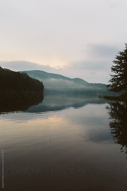 Foggy Sunset in the Adirondacks by Anjali Pinto for Stocksy United