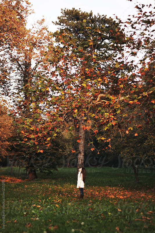 Cute little girl standing under the big tree in park by Jovana Rikalo for Stocksy United